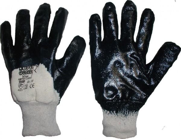 Nitril-Handschuhe blau Strickbund teilbeschichtet
