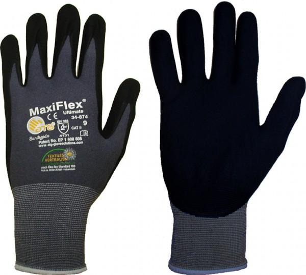 Feinstrickhandschuhe Ultimate MaxiFlex 34-874, schwarz