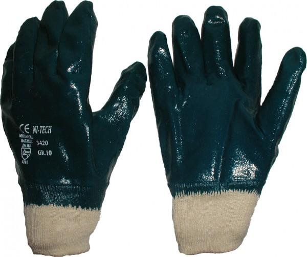 Nitril-Handschuhe blau Strickbund vollbeschichtet