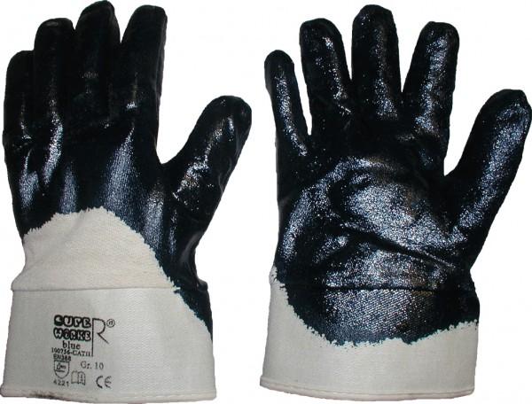 Nitril-Handschuhe blau Stulpe teilbeschichtet
